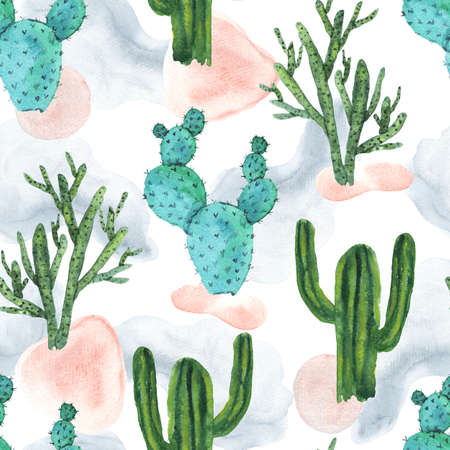 Cute seamless pattern with green and teal watercolor cactus on textured color shapes background. Stock fotó