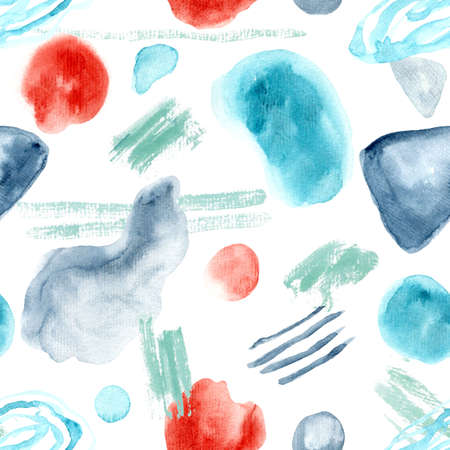 Abstract bright colors seamless pattern with hand drawn watercolor shapes and brush strokes. Trendy and stylish texture for textile, wrapping paper, cover, surface, wallpaper Stock fotó