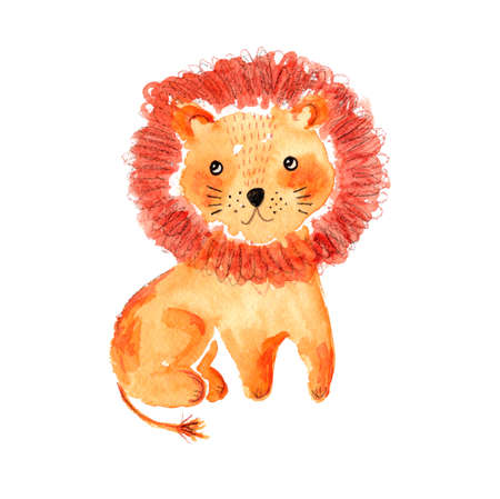 Cute doodle watercolor hand drawn orange lion illustration.