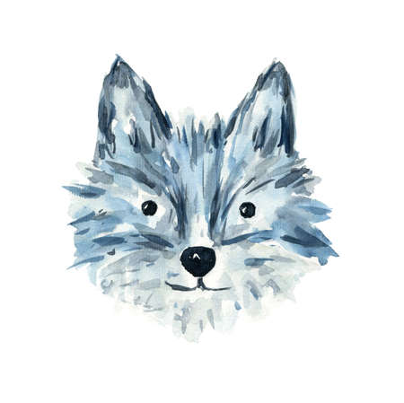 Cute sketch gray and blue watercolor wolf illustration. Childish cartoon cheerful dog animal for greeting card design, banner, sticker, home decor