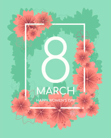 Bright spring floral greeting card with green background and red flowers for 8 March, happy womens day, mothers day Illusztráció
