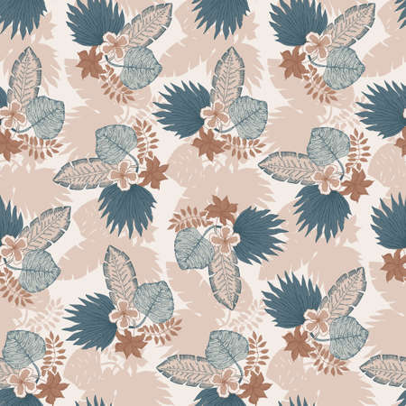 Tender seamless pattern with blue and orange tropical leaves and flowers bouquets. Botanical texture for textile, wrapping paper, surface, wallpaper