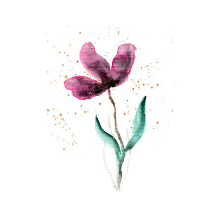 Abstract granulating watercolor pink and purple flower arrangement. Delicate dusk colors painting floral composition for invitation, wedding or greeting cards design. Stock fotó