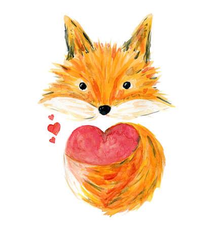 Cute sketch orange watercolor fox with big pink heart illustration. Childish cartoon cheerful animal for Valentine greeting card design. Stock fotó