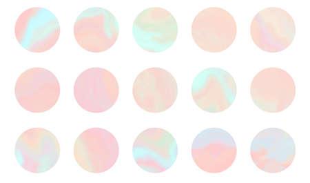 Set of tender pastel orange, coral and teal round shapes hologram background. Holographic vibrant colors circles templates for software, ui design, web, apps wallpaper, banner