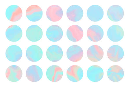 Set of bright blue and pink round shapes hologram background. Holographic vibrant colors circles templates for software, ui design, web, apps wallpaper, banner