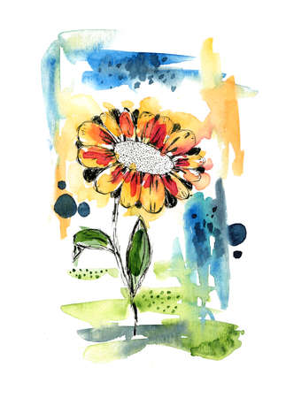 Bright abstract watercolor botanical illustration. Watercolour background with gerbera flower and color texture shapes for social media design, banner, greeting cards, wallpaper, poster design