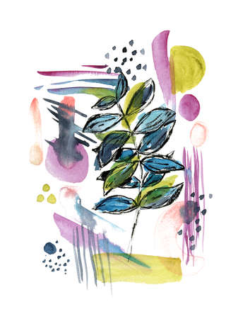Bright abstract watercolor botanical illustration. Watercolour background with leaves branch and color texture shapes for social media design, banner, greeting cards, wallpaper, poster design