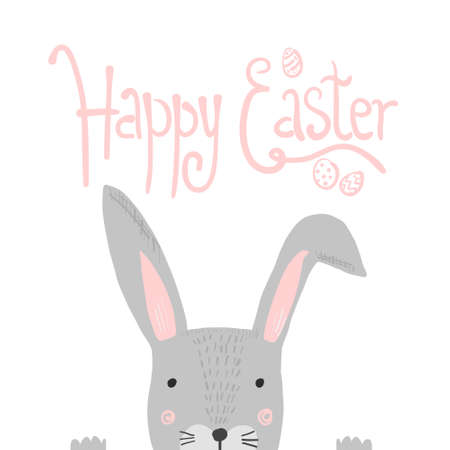 Bright pink Happy Easter poster with white doodle handwritten text and funny gray rabbit. Cute cartoon Easters illustration for greeting card, spring holiday invitation design