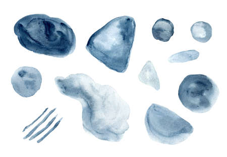 Set of dark textured indigo blue watercolor stains. Collection of vibrant gray watercolour blobs for decoration, poster, banner, greeting cards design Stock fotó