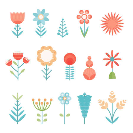 Set of flat vector simple shapes color abstract flowers. Cute bright colorful floral elements for stickers, tags, wrapping paper, greeting cards, posters and banner design