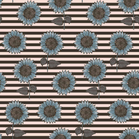 Trendy seamless pattern with colorful blue sketch textured sunflowers on black and pale pink striped background. Abstract hand drawn gerbera flower texture for textile, wrapping paper, surface