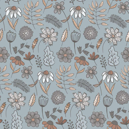 Cute pale colors doodle floral seamless pattern with colorful flowers and leaves. Childish gray and coral texture with blossoms and herbs for textile, wrapping paper, surface, wallpaper, background