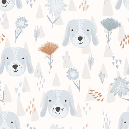 Cute seamless pattern with cartoon dog heads, hearts and colorful childish flowers. Funny hand drawn domestic puppy texture for kids design, wallpaper, textile, wrapping paper