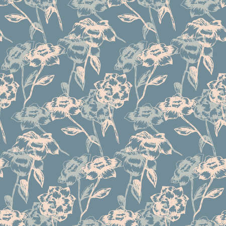 Tender blue and coral seamless pattern with light hand drawn sketch roses. Romantic retro flowers texture for textile, wrapping paper, surface, wallpaper