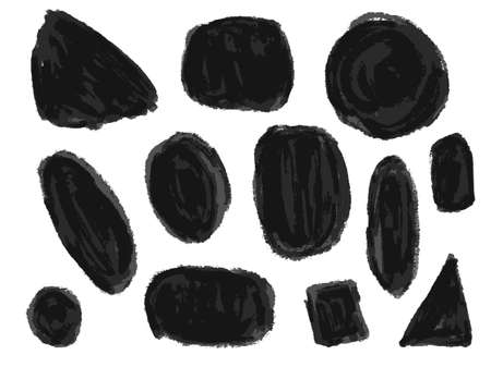 Set of abstract expressive textured black ink or watercolor round and square shapes. Dynamic isolated inky blobs, dark concept for textured brush design, background decor, stamp, banner
