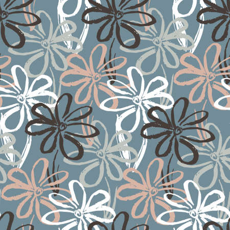 Abstract seamless pattern with contrast pale colors hand drawn inky chamomile flowers. Cute summer floral texture for textile, wrapping paper, cover, surface, wallpaper, background Illusztráció