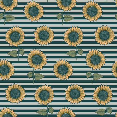 Trendy seamless pattern with colorful yellow sketch textured sunflowers on black and pale gray striped background. Abstract hand drawn gerbera flower texture for textile, wrapping paper, surface