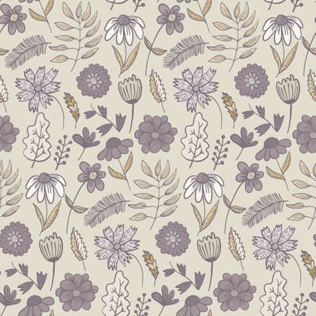 Cute pale purple and orange colors doodle floral seamless pattern with flowers and leaves. Childish texture with blossoms and herbs for textile, wrapping paper, surface, wallpaper, background