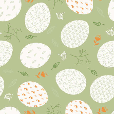 Fresh green and orange Happy Easter seamless pattern with white decorated eggs, branches and flowers. Cute spring ornate egg texture for Easters package, gift wrapping paper, textile, background