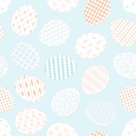 Tender blue and red Happy Easter seamless pattern with white decorating eggs. Light colors ornate eggs texture for Easters package, gift wrapping paper, textile, covers, background Illusztráció