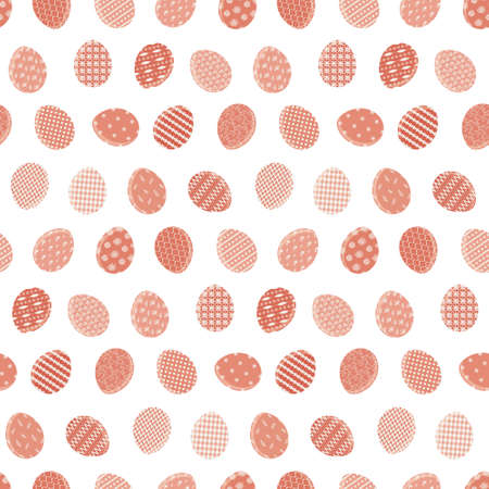 Cute Happy Easter seamless pattern with red color eggs on white background. Bright terra cotta ornate eggs texture for Easters package, gift wrapping paper, textile, covers Stock fotó - 164561485