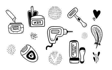 Set of doodle depilatory and epilatory instruments. Black outline wax, laser, cream, razor, epilator tools for female delicate body care design, package, sticker, label Vettoriali