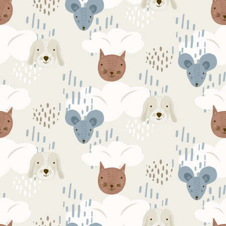 Cute cartoon seamless pattern with mice, dogs and cats heads on beige sky with clouds and dots. Funny texture with pets for kids design, wallpaper, textile, wrapping paper, background