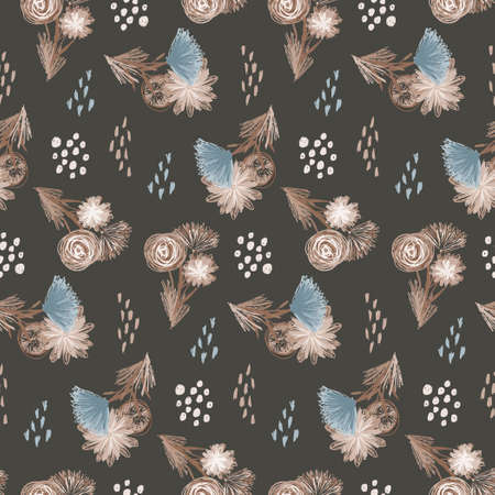 Brown and blue colors sketchy seamless pattern with flower bouquets. Childish scandinavian floral texture for textile, wrapping paper, surface, wallpaper Stock fotó