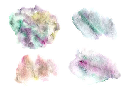Set of colorful granulate textured watercolor stains. Collection of vibrant dusk colors watercolour blobs for decoration, poster, banner, greeting cards design