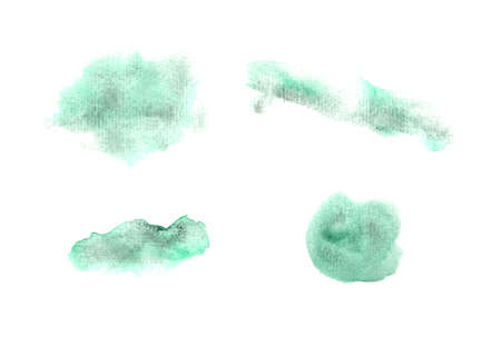 Set of granulate textured green watercolor stains. Collection of vibrant dusk color watercolour blobs for decoration, poster, banner, greeting cards design