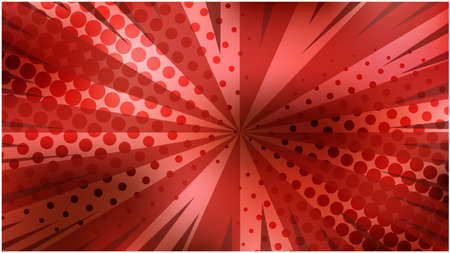 Abstract vibrant red striped retro comic background with dotted halftone corners. Passion pink background with stripes and half tone pattern for comics book, advertising design, poster, print