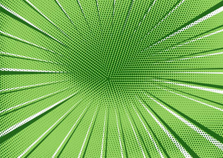 Abstract retro comic background with bright green radial dotted halftone and circle of dark and light stripes. Fresh eco pop art texture for wallpaper, banner or presentation design