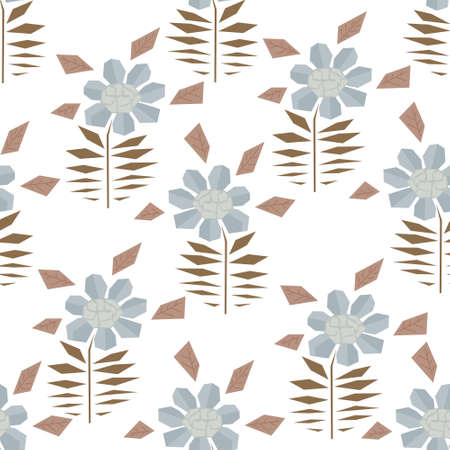 Pale colors seamless pattern with cute simple gerbera flowers in scandinavian style. Abstract nordic floral texture for textile, wrapping paper, background, package, surface design