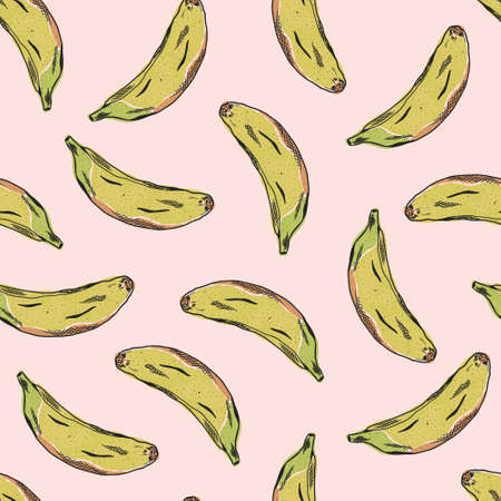 Cute pattern with color sketch banana fruits