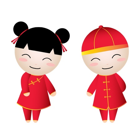 china art: Chinese Girl-Boy Greetings Illustration