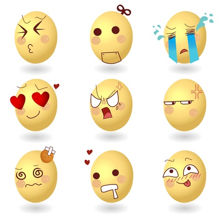 Eggs Vector Emotions Set1  Illustration