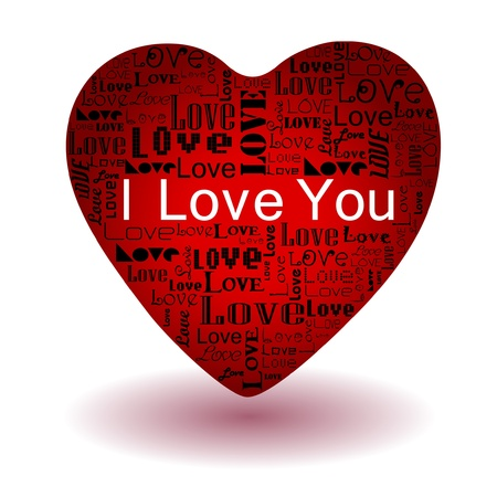 Vector valentine s day-Love text in red heart Stock Vector - 17525559