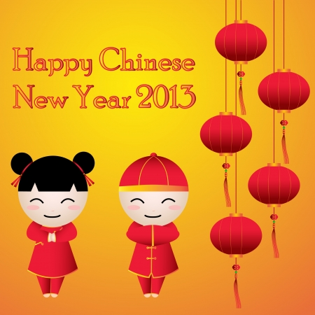 Cartoon of Boy   Girl Greeting Card Chinese New Year with Happy New Year Text 2013 Vector  Stock Vector - 17525556