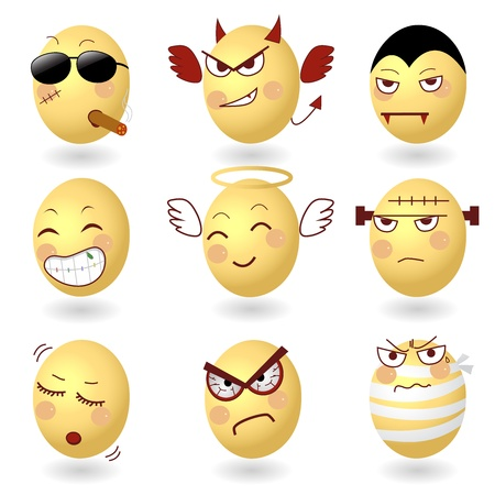 Eggs Vector Emotions Set2 Vector