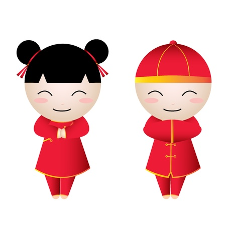 Chinese Girl-Boy Greetings on white background