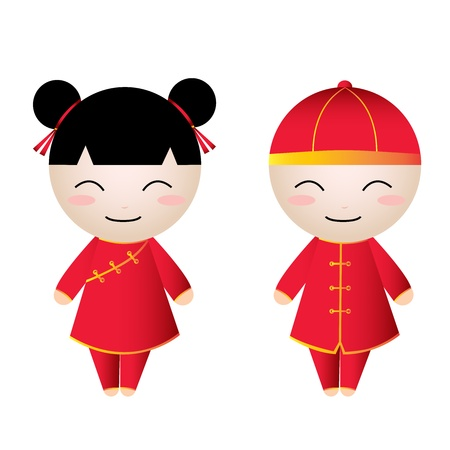 Chinese Girl-Boy on white background Stock Vector - 17684334