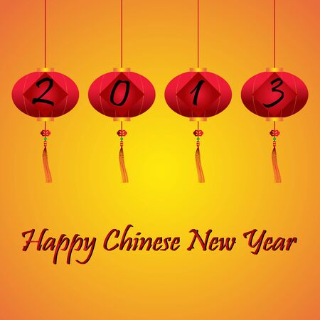 Chinese New Year 2013 on Red Lanterns and Happy New Year Text  Vector  Illustration