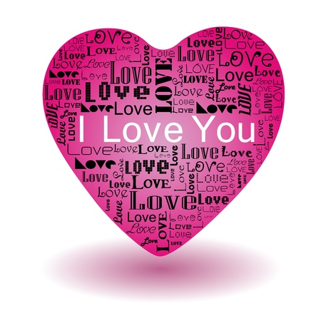 Vector valentine s day-Love text in pink heart Stock Vector - 17684342