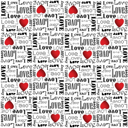 Eps 10 vector valentine pattern with black color love text on white background Illustration