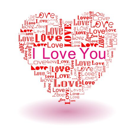 Vector valentine s day-Love text in heart Illustration