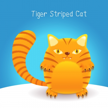 cute tiger stripes cat on an blue  background