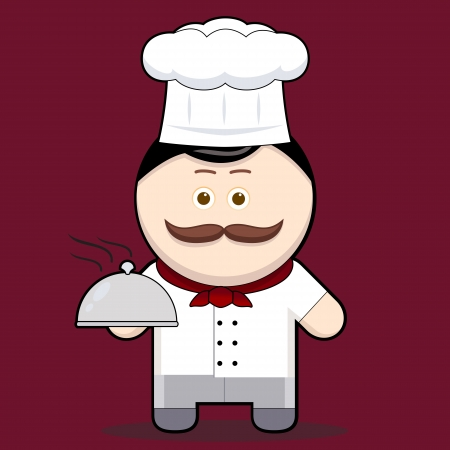 Cartoon illustration cute chef holding a metal food platter cute character man with mustache collection  Vector