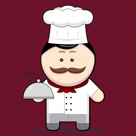 bigote: Ilustraci�n de dibujos animados lindo cocinero que sostiene una bandeja de comida met�lico hombre simp�tico personaje con bigote colecci�n