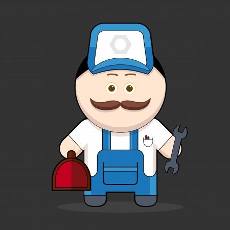 Cartoon cute handyman-mechanic illustration  cute character man with mustache collection